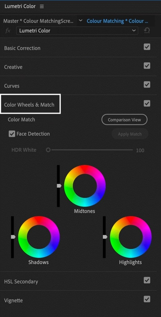 premiere pro color match and wheels