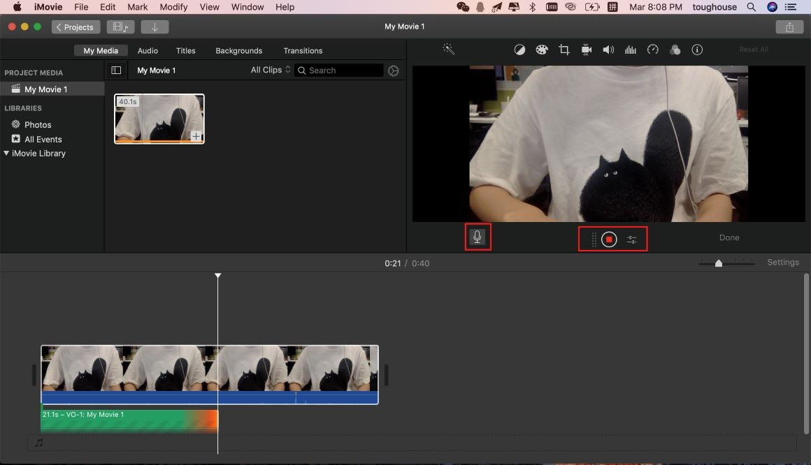 record sound in imovie