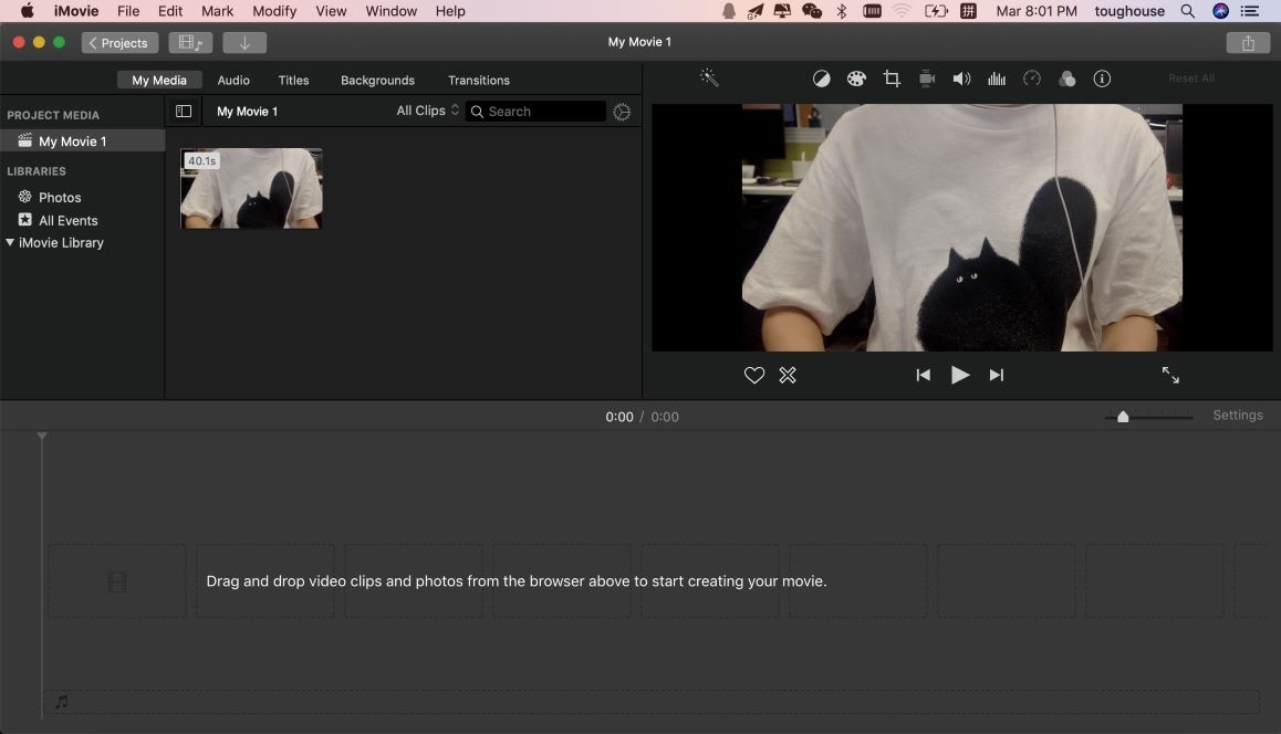 record video from webcam in imovie
