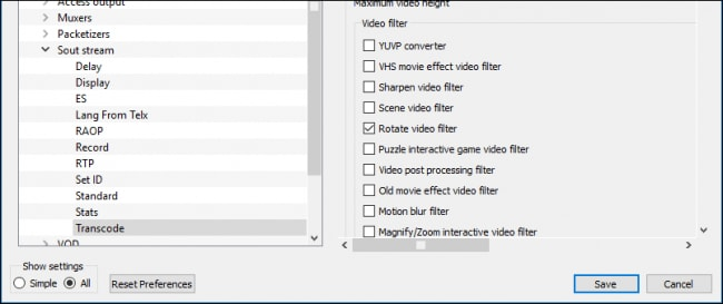 save rotated videos in vlc