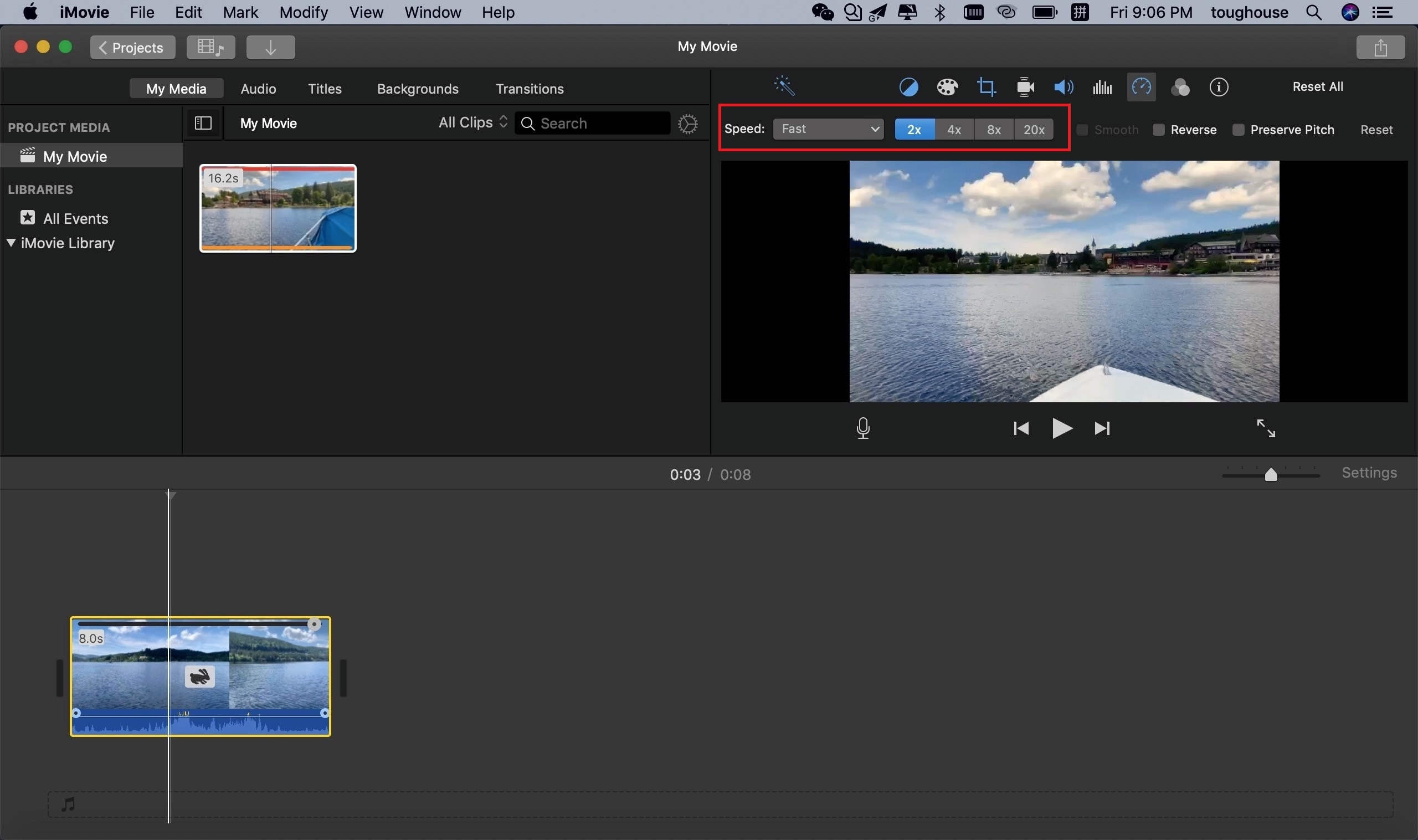 change speed on imovie