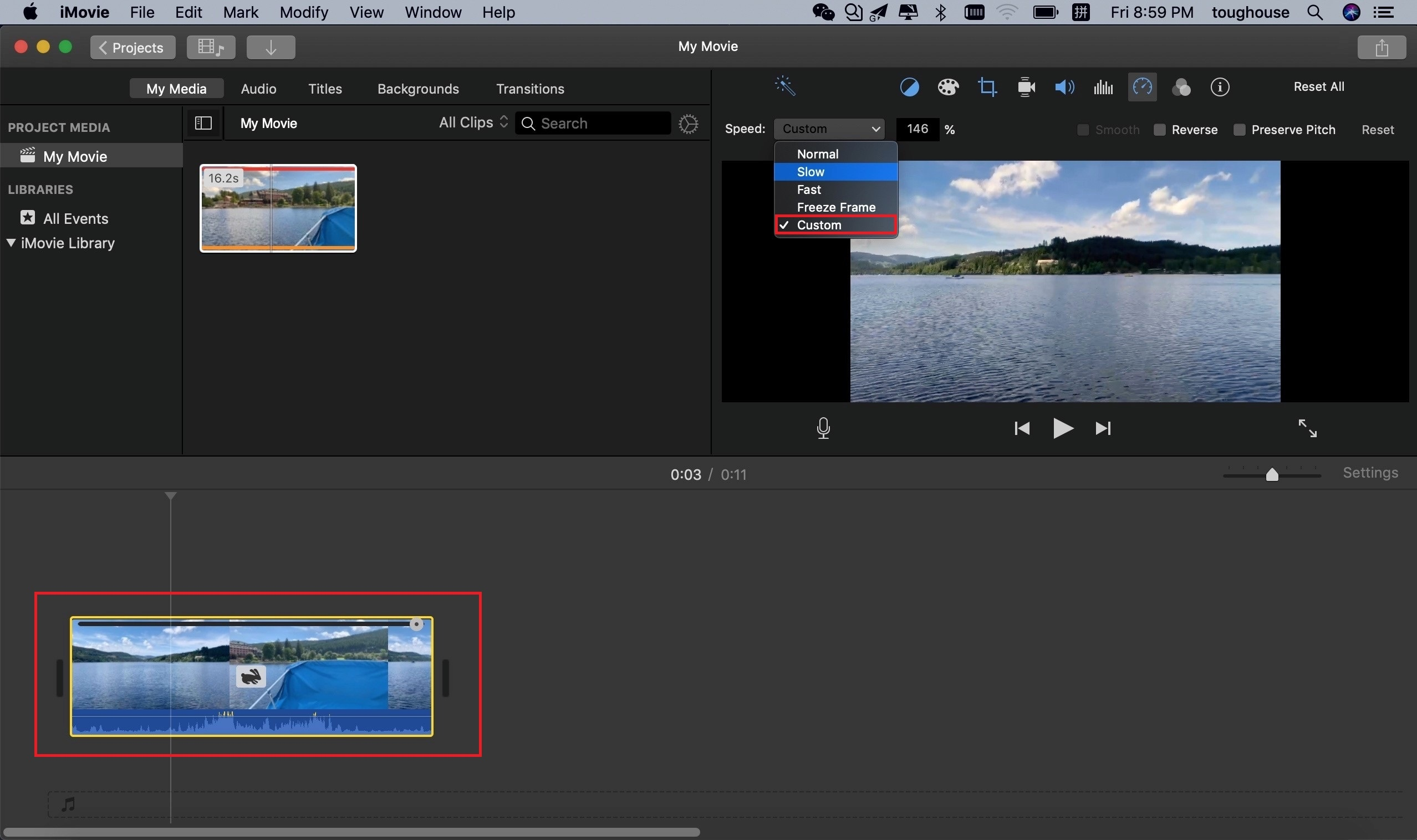 accelerate video on imovie