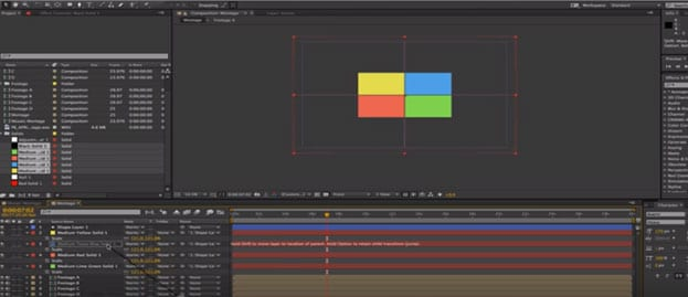 fractionnement de l'écran dans after effects