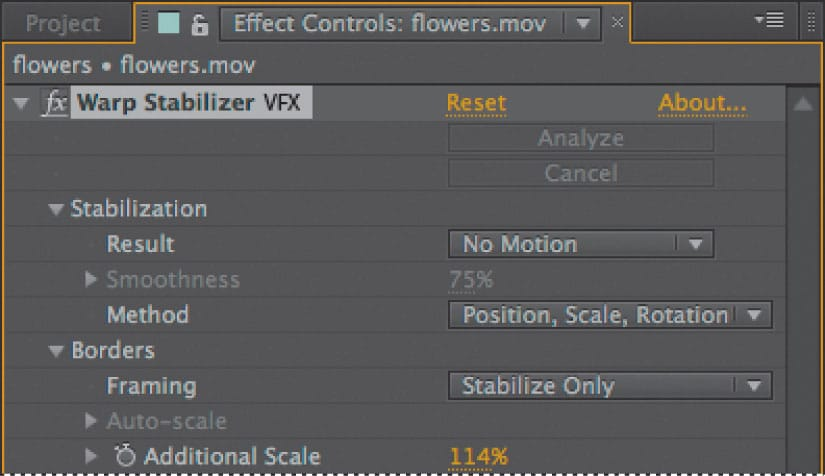 stabilize video in after effects
