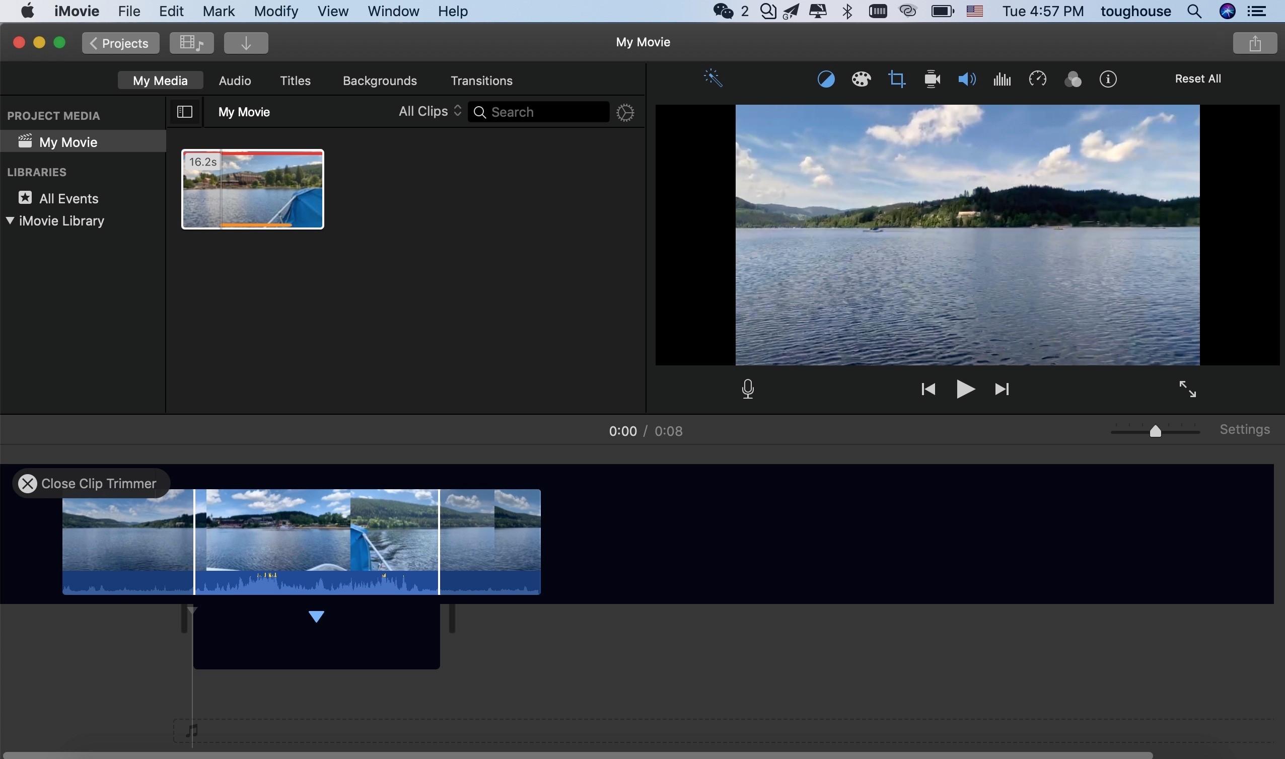 trim video imovie