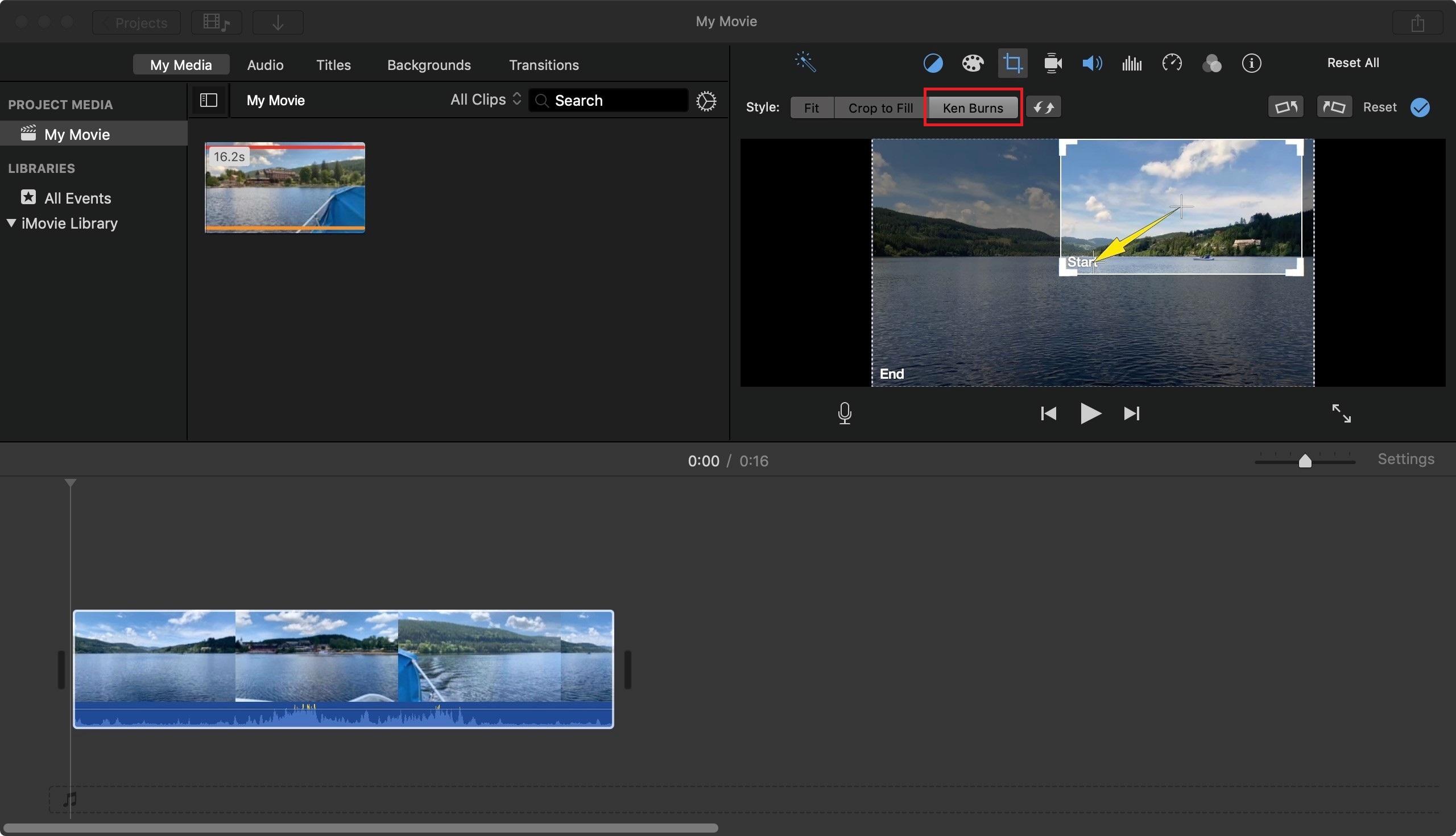 zoom avant zoom arrière une vidéo imovie