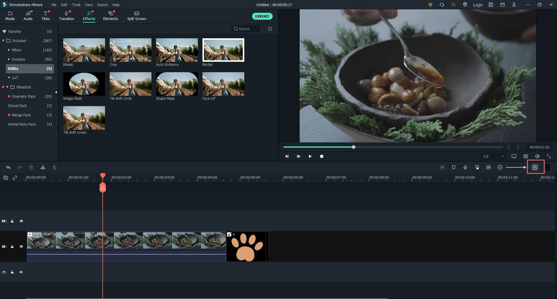 zoom video in Filmora video editor