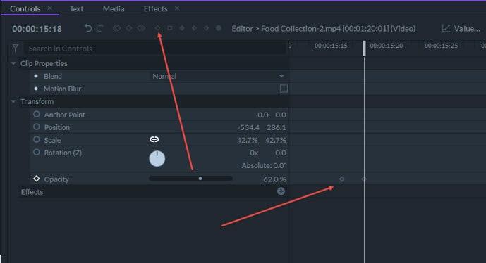 add keyframes in filmora pro