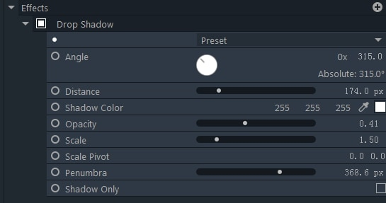 filmorapro drop shadow effect