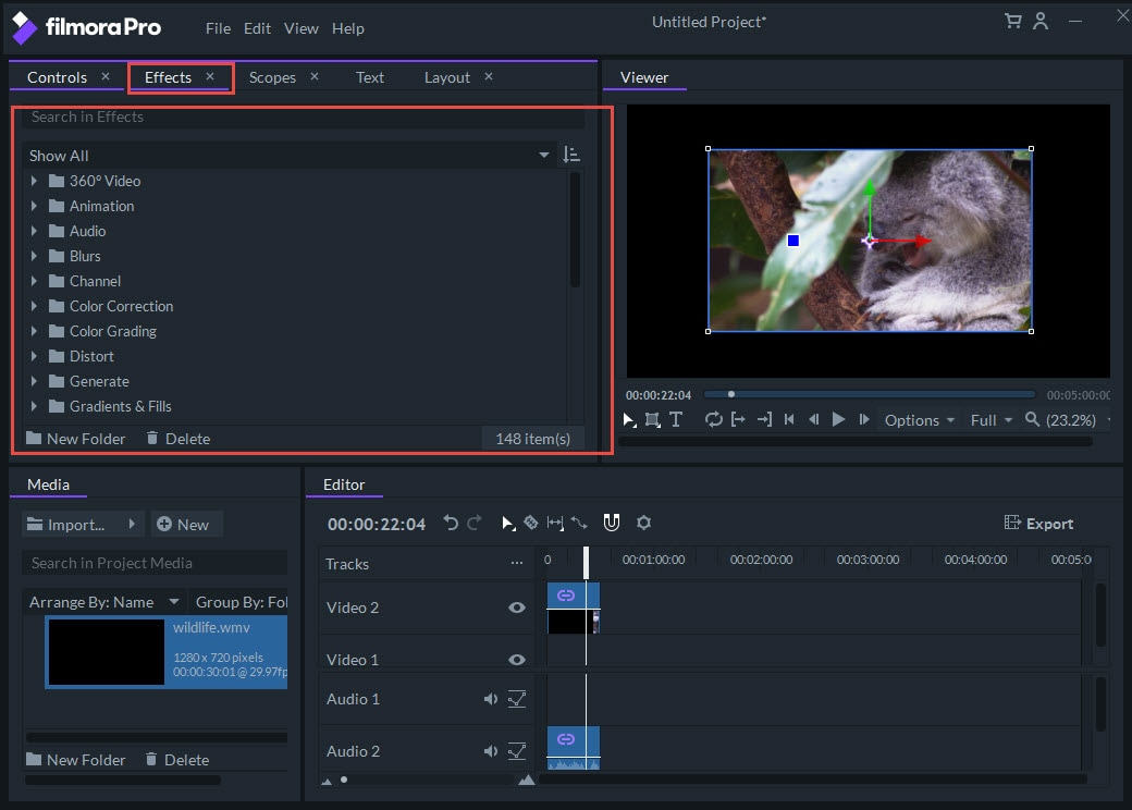 video effects panal