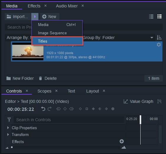 importing titles in filmora pro