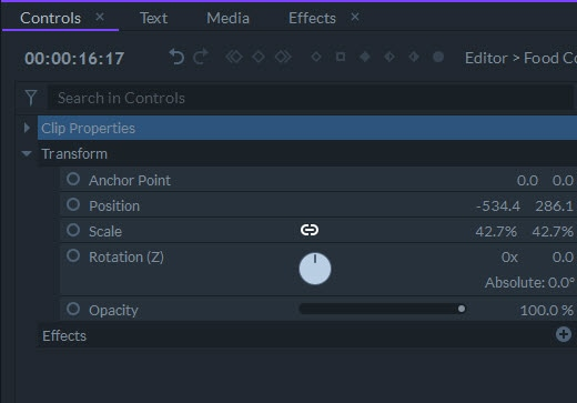 transform widget control
