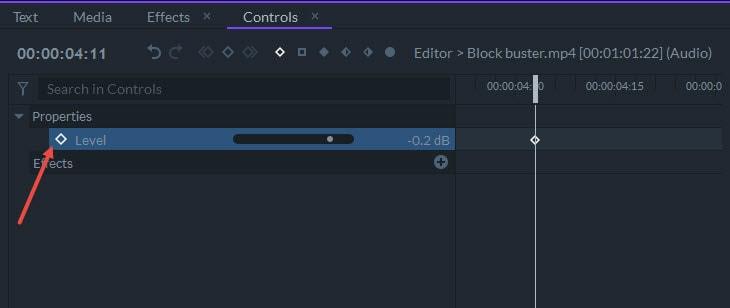 turn on audio keyframe