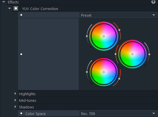yuv color correction effects