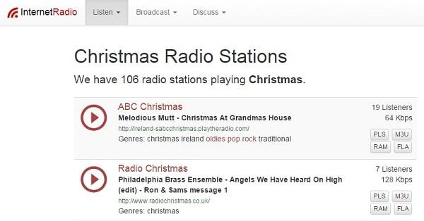 christmas music radio stations