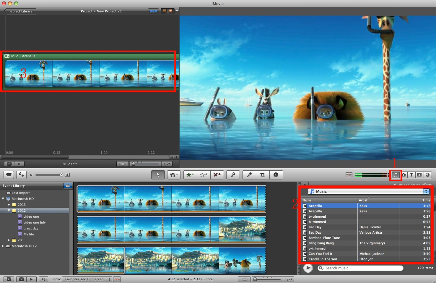 add music to video with imovie