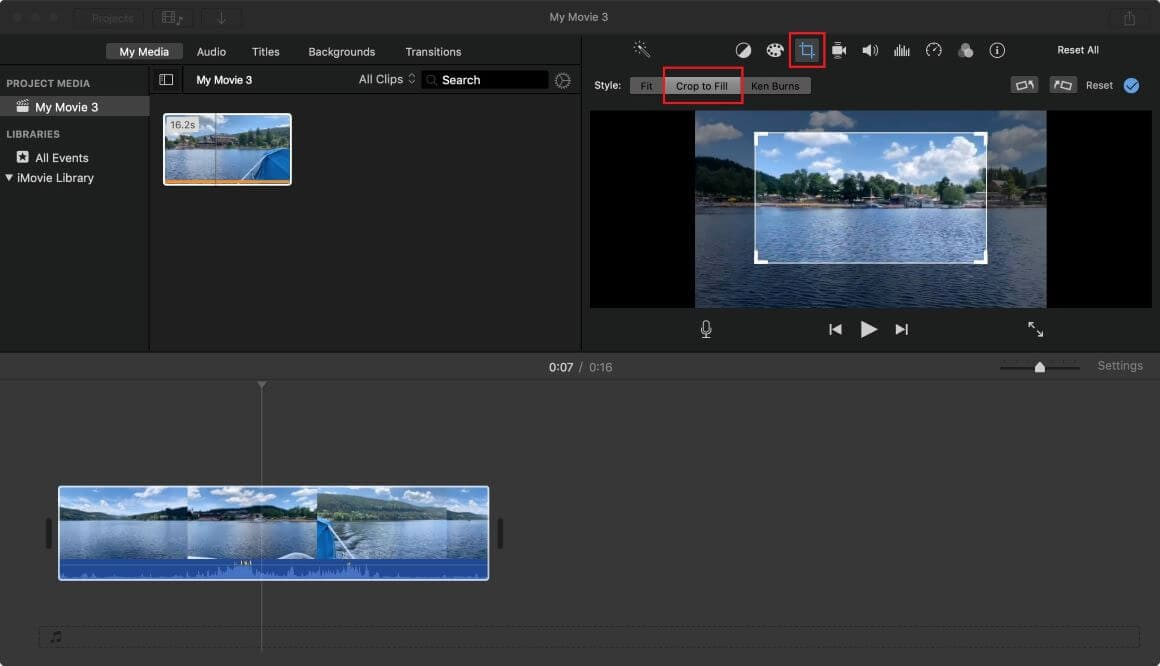 crop video using imovie for mavericks