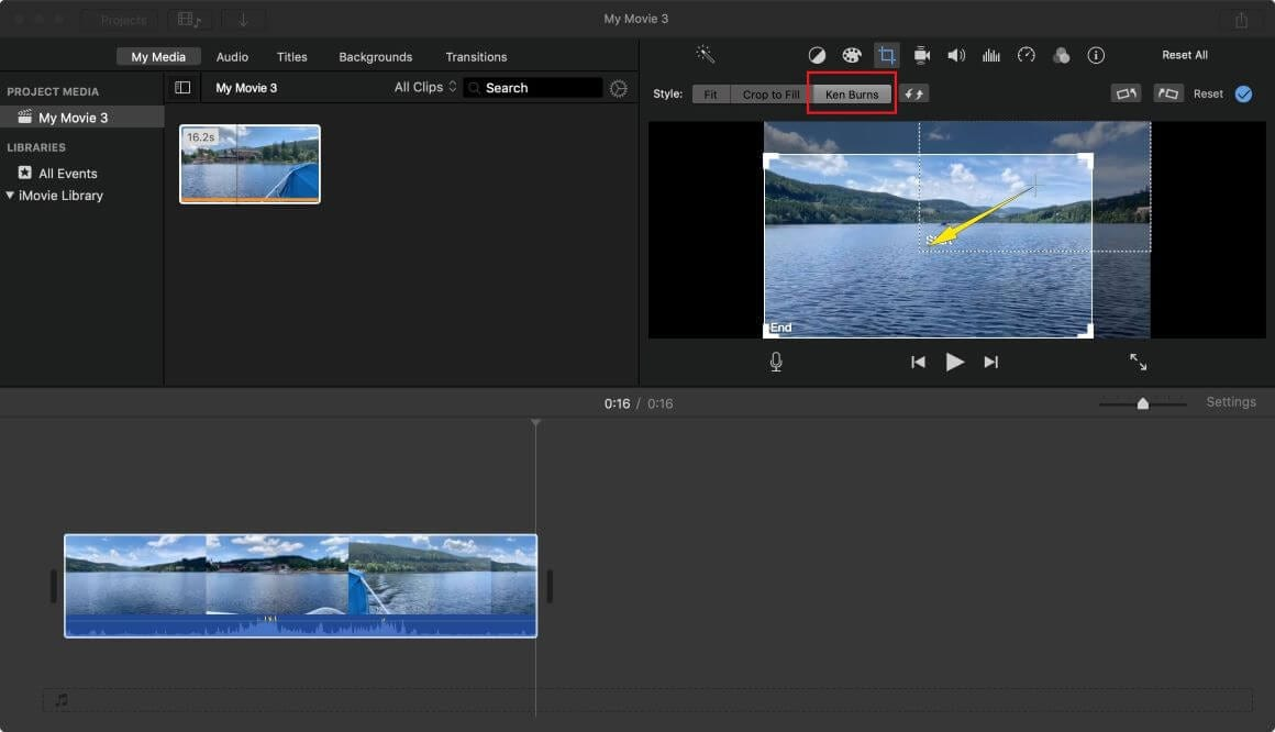 cropping video in imovie Yosemite