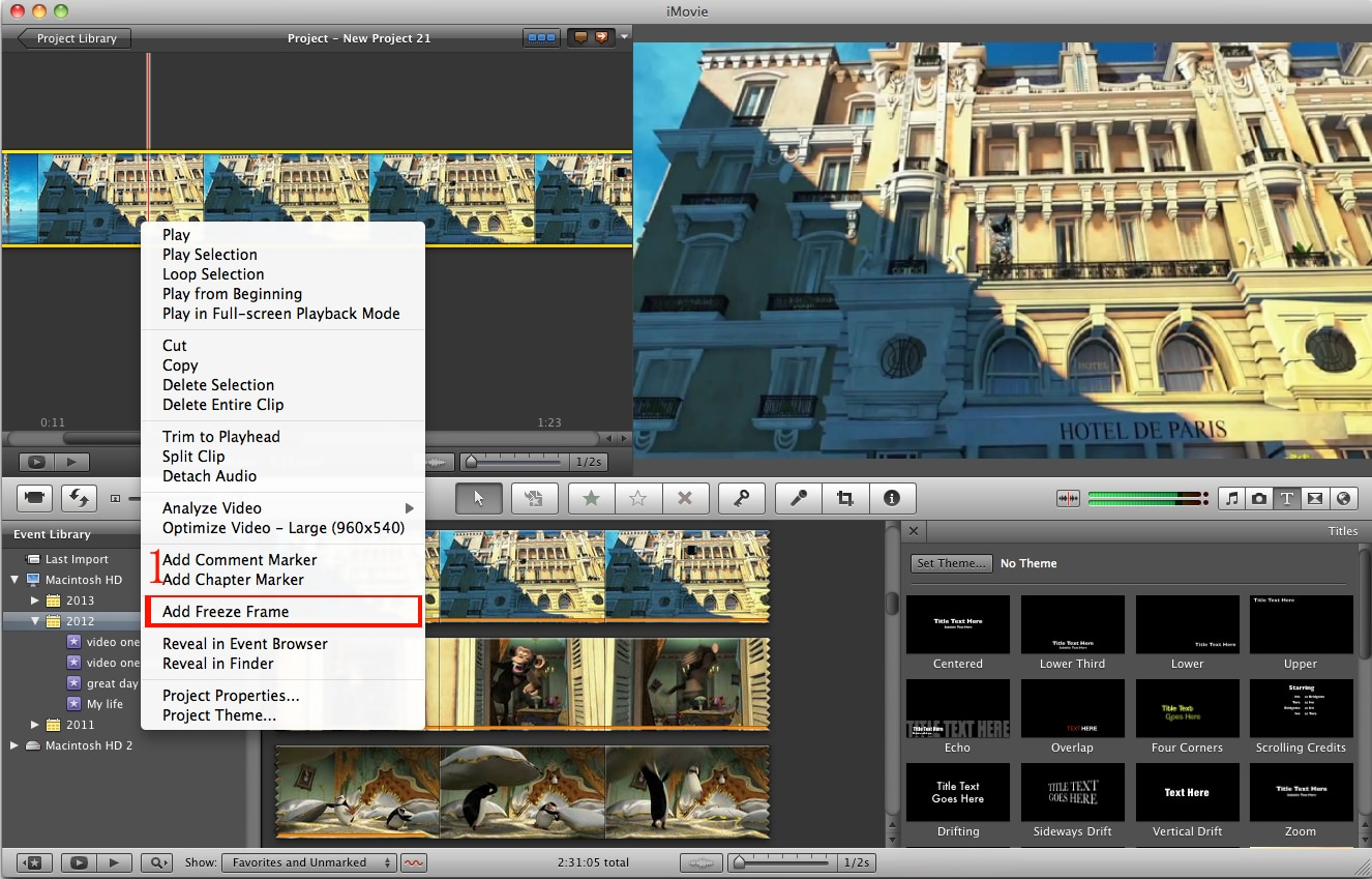freeze frame in imovie on mac os x