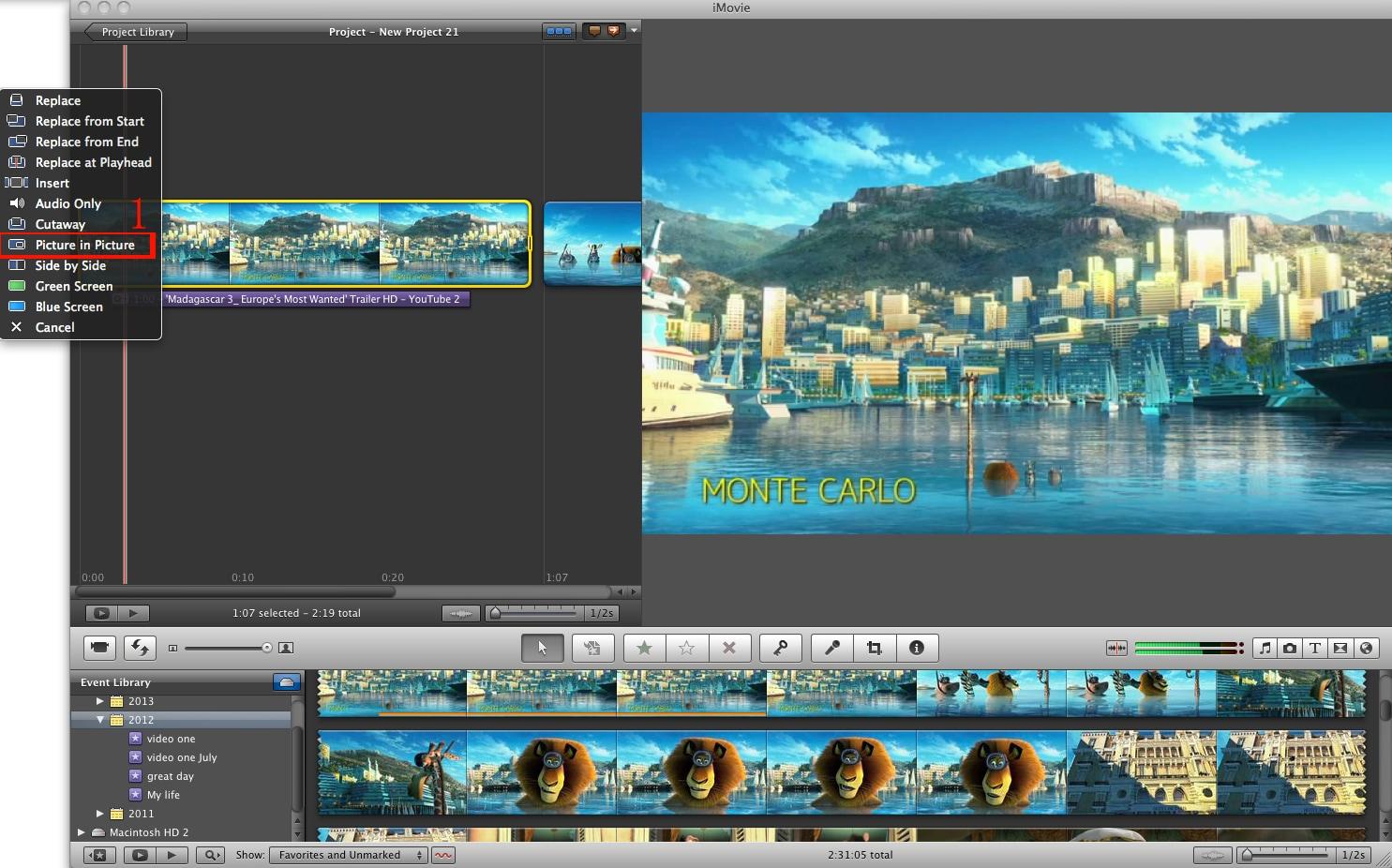 how to split screen on imovie