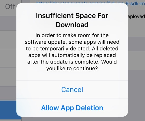 Ios 9 free up space