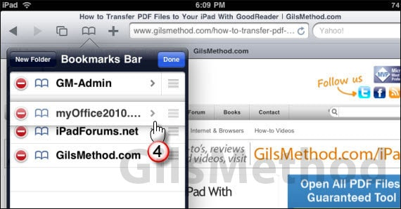 iPad Safari bookmark