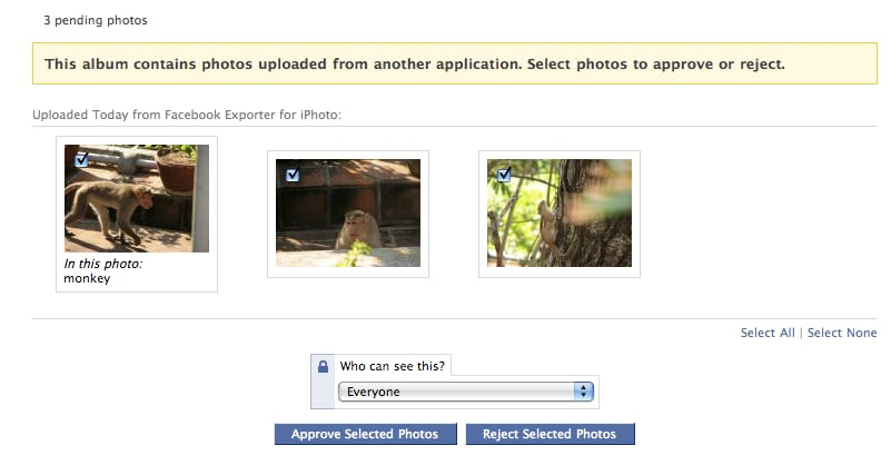iPhoto to Facebook on Mac