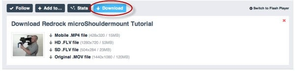 vimeo download button