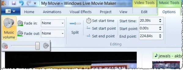 how to cut audio in movie maker windows 7