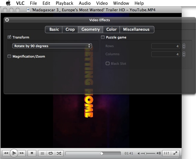 how to rotate a video in vlc mac