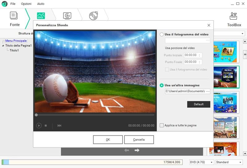 personalizza il background del menu DVD