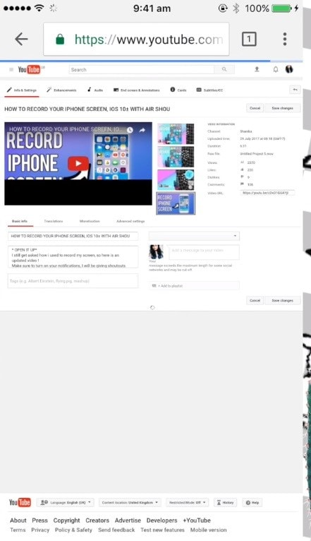 how to add a youtube thumbnail on iphone