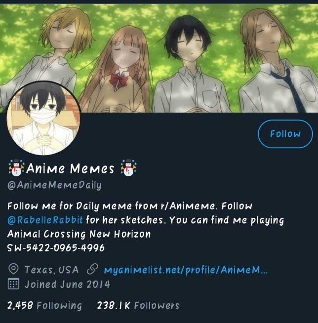 anime memes account on twitter