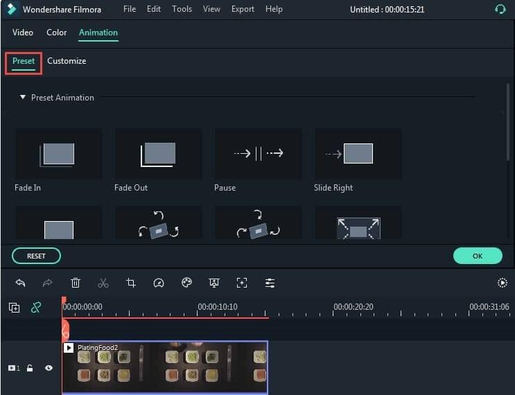 animation tab