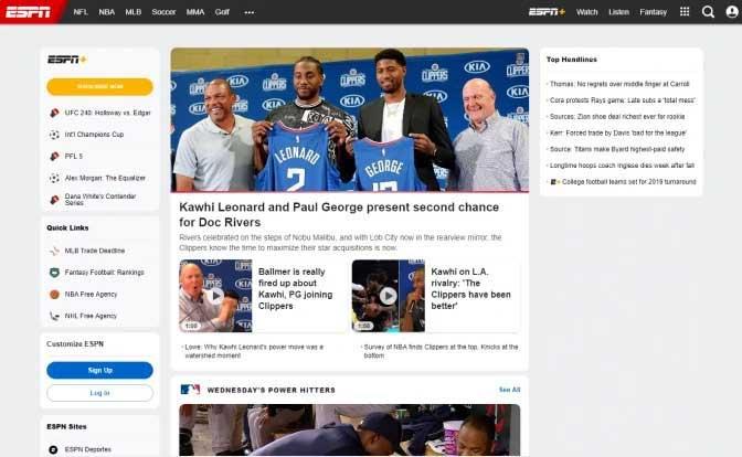 live streaming sport websites