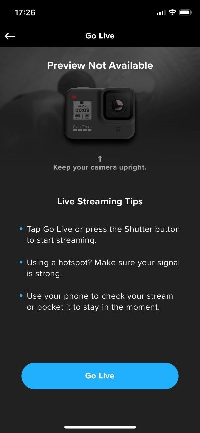 can you live stream with a gopro
