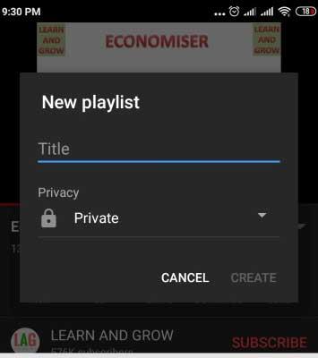 click on create new playlist option