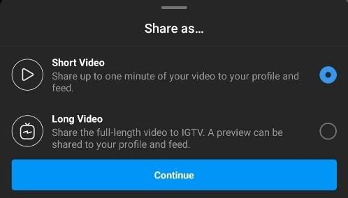 share video on instagram