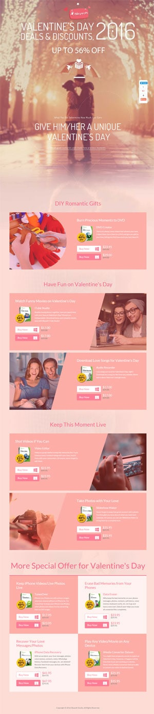 Promotion for Valentine's Day in 2016 - iSkysoft