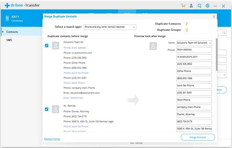 transfer contact to outlook