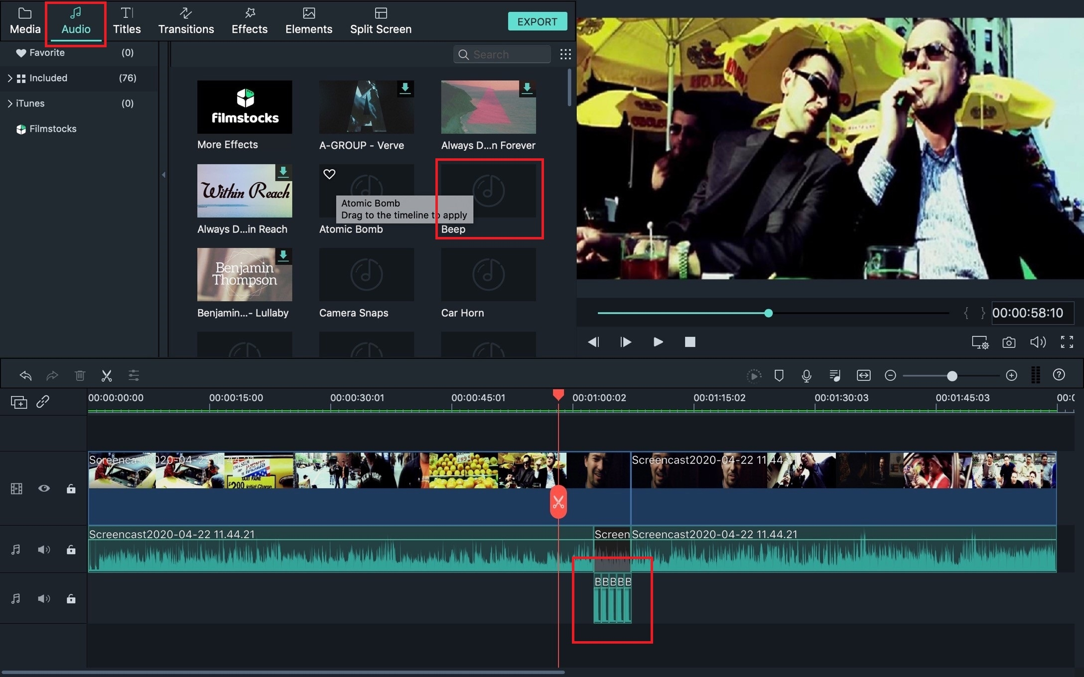 add beep effect to video