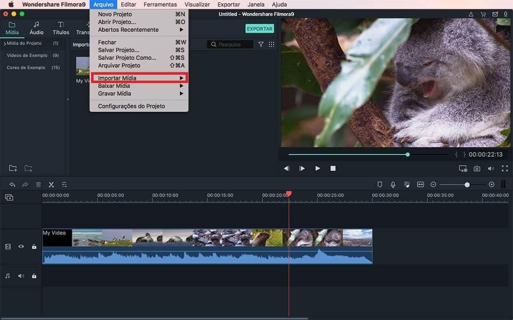importar video e audio