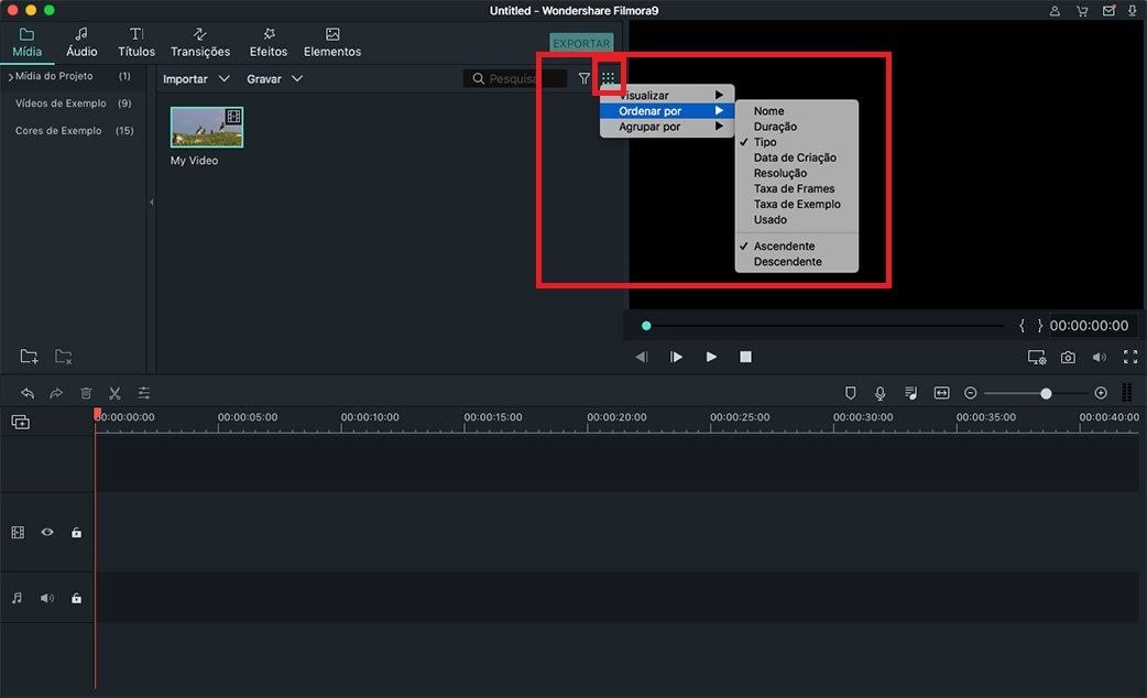 filtrar arquivos de mídia mac
