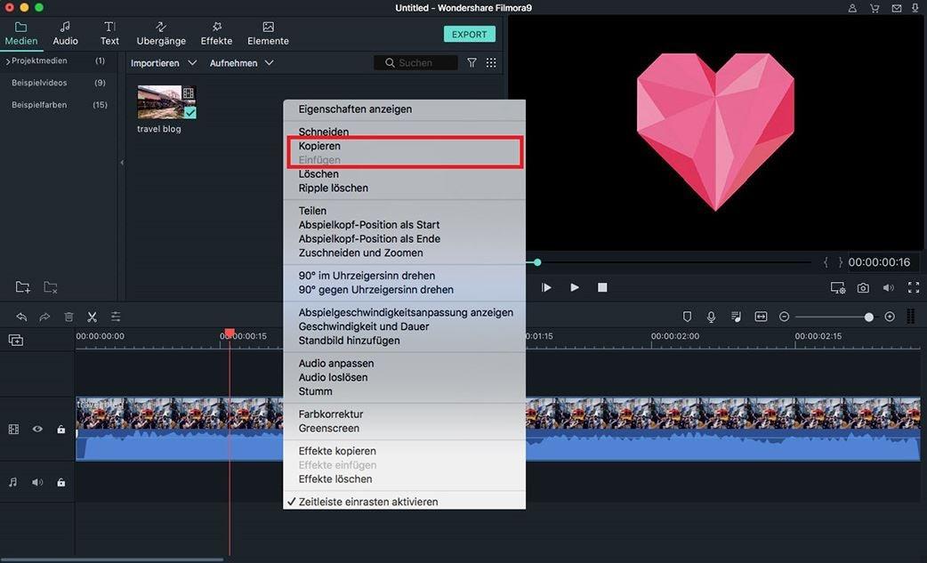 video kopieren und einfügen