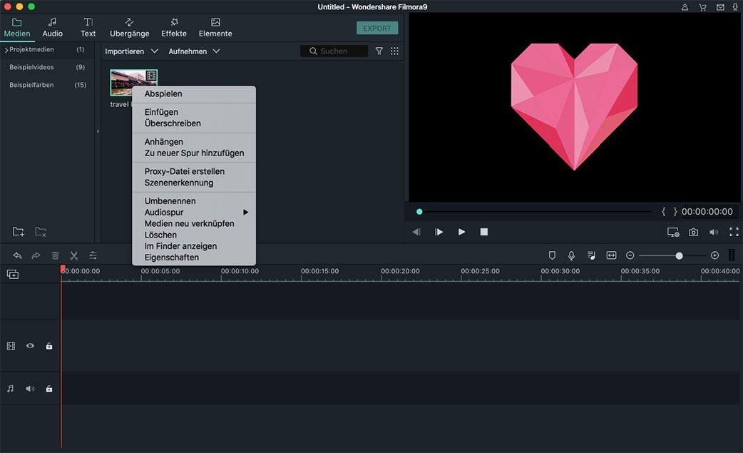 filmora mac importierung optionen