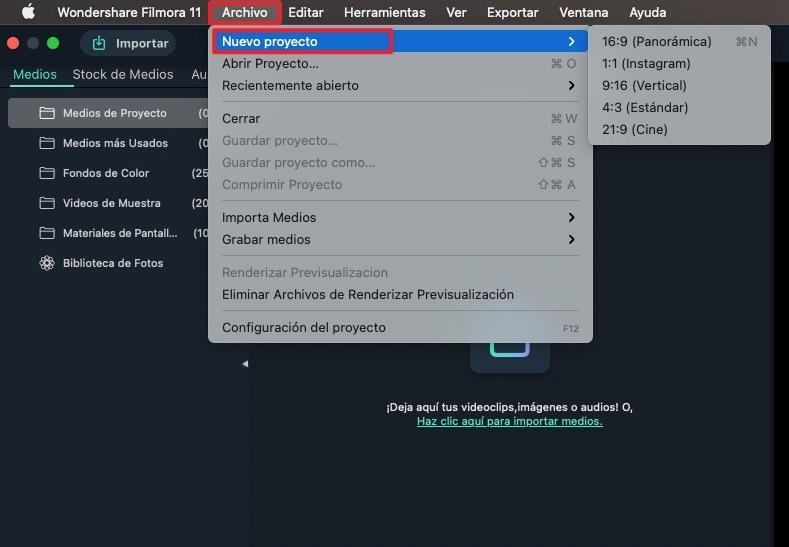 crear proyecto mac