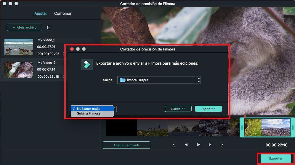 exportar video cortado