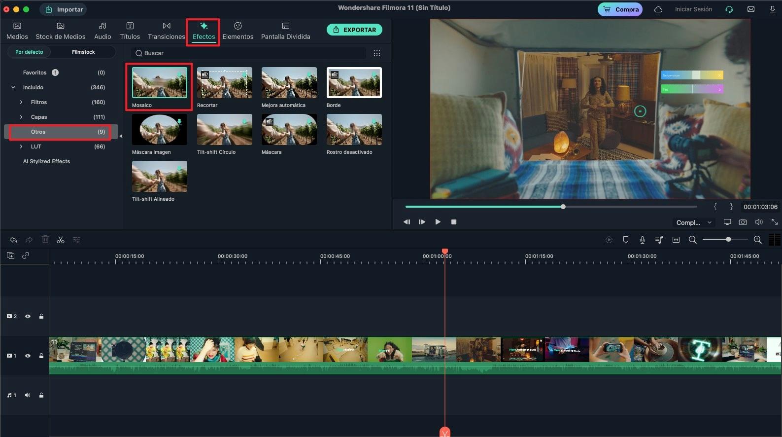 agregar efecto de mosaico al video