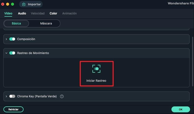 iniciar configuración de tracking