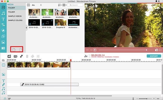 media library of Filmora video editor